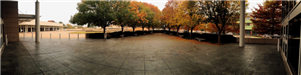 Panoramic View of the Atrium Courtyard in Fall