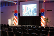 Multimedia Presentation Set up with Patriotic Balloons