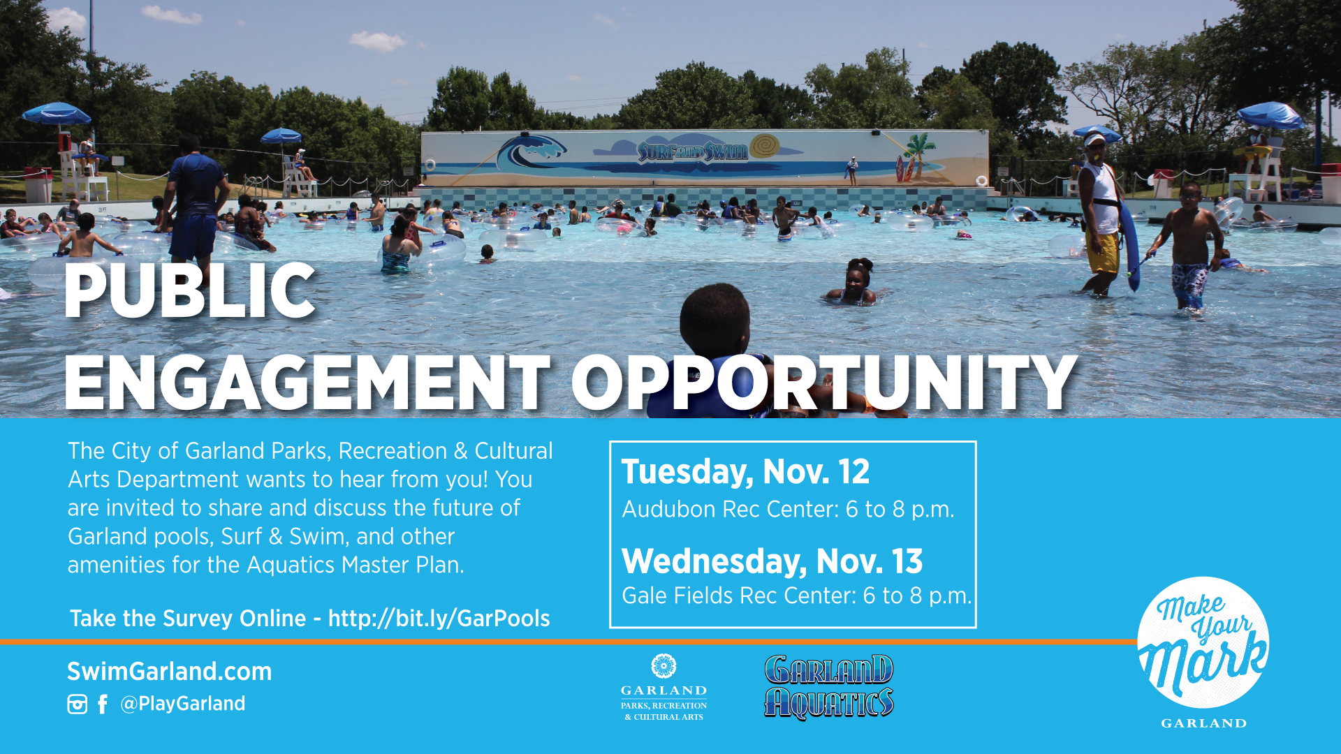 Aquatics Master Plan Flyer for November 12 and November 13