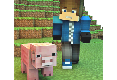 Picture of a Minecraft pig and person in front of a wall