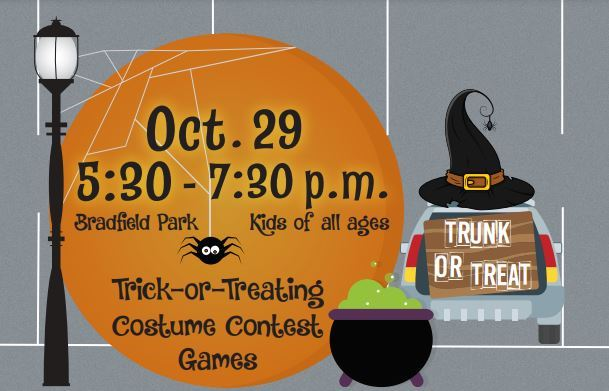 2020 flyer for Trunk-R-Treat at Bradfield Rec Center on Oct. 30