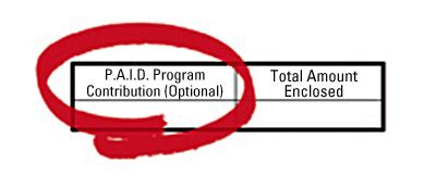 Graphic showing how to make a contribution to the P.A.I.D. Program.